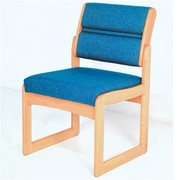 Wooden Mallet Valley Armless Guest Chair in Light Oak/Powder Blue (WDNM699)