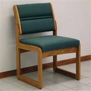 Wooden Mallet Valley Armless Guest Chair in Medium Oak/Foliage Green (WDNM708)