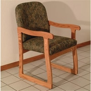 Wooden Mallet Prairie Fabric Guest Chair in Medium Oak, Watercolor Green, WDNM1302