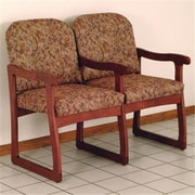 Wooden Mallet Prairie Two Seat Chair with Center Arms in Mahogany, Watercolor Rose (WDNM1343)
