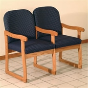 Wooden Mallet DW7-2MOAB Prairie Two Seat Chair with Center Arms in Medium Oak, Arch Blue (WDNM1344)