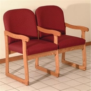 Wooden Mallet Prairie Two-Seat Chair with Center Arms in Medium Oak/Arch Wine (WDNM1349)