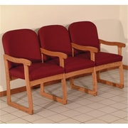 Wooden Mallet Prairie Three Seat Chair with Center Arms in Medium Oak, Leaf Wine, WDNM1413