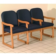 Wooden Mallet DW7-3MOAB Fabric Prairie Three Seat Chair with Center Arms in Medium Oak, Arch Blue, WDNM1404