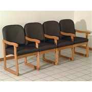 Wooden Mallet Prairie Four Seat Chair with Center Arms in Medium Oak, Arch Olive, WDNM1467