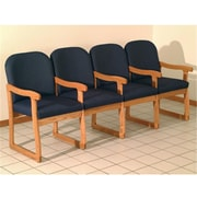 Wooden Mallet DW7-4MOAB Prairie Four Seat Chair with Center Arms in Medium Oak, Arch Blue (WDNM1464)