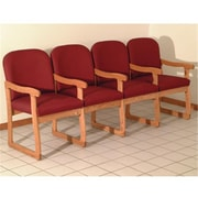 Wooden Mallet Prairie Four-Seat Chair with Center Arms in Medium Oak/Arch Wine (WDNM1469)