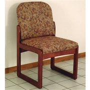 Wooden Mallet Prairie Fabric Armless Guest Chair in Mahogany, Watercolor Rose, WDNM1523
