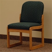 Wooden Mallet Prairie Fabric Armless Guest Chair in Medium Oak, Leaf Green, WDNM1531