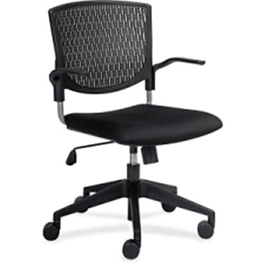 Lorell Plastic Computer and Desk Office Chair, Fixed Arms, Black (RTL156467)