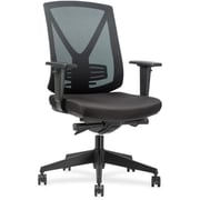 Lorell Fabric Executive Office Chair, Adjustable Arms, Black (RTL156600)