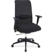 Lorell Weight Activated Fabric Computer and Desk Office Chair, Adjustable Arms, Black (RTL156565)