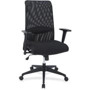 Lorell Suspension Plastic Computer and Desk Office Chair, Adjustable Arms, Black (RTL156566)