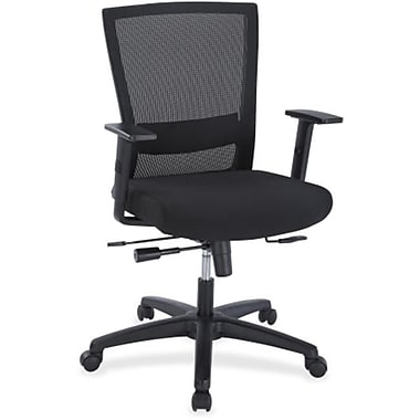 Lorell Designer Fabric Executive Office Chair, Adjustable Arms, Black (RTL156601)