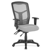 Lorell Ergomesh RTL156645 Fabric Seat Mesh High-Back Executive Chair, Gray