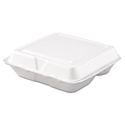 """""""""""Drc Carryout Food Container, Foam, 3-Compartment, 8"""""""""""""""" x 7 1/2"""""""""""""""" x 2 3/10"""""""""""""""", White, 200/Carton (AZERTY18710)"""""""""""" 1879020"""