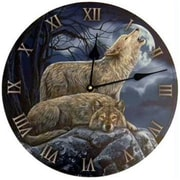Azure Green 2 Wolves 11.5in Clock (AGFC457)