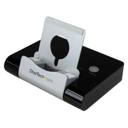 Startech.ComMD – Concentrateur à 3 ports USB 3.0 pour les portables et les tablettes, port de chargement rapide et support, noir