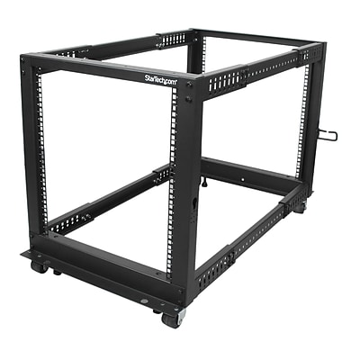 StarTech® 12U Adjustable Depth Open Frame 4 Post Server Rack with Casters/Levelers And Cable Management Hooks