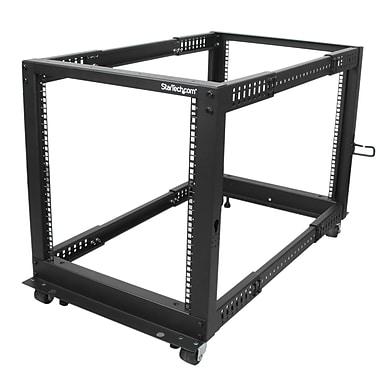 Startech.Com 12U Adjustable Depth Open Frame 4 Post Server Rack with Casters/Levelers And Cable Management Hooks