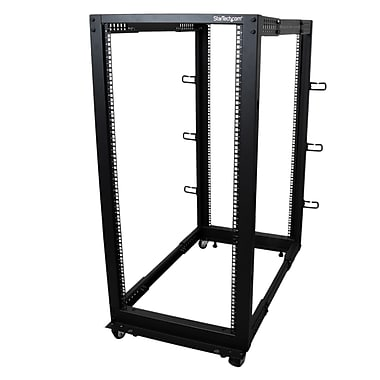 StarTech® 25U Adjustable Depth Open Frame 4 Post Server Rack with Casters/Levelers And Cable Management Hooks