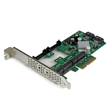 StarTech® 2 Port PCI Express 2.0 SATAIII 6Gbps Raid Controller Card with 2 Msata Slots And Hyperduo Ssd Tiering