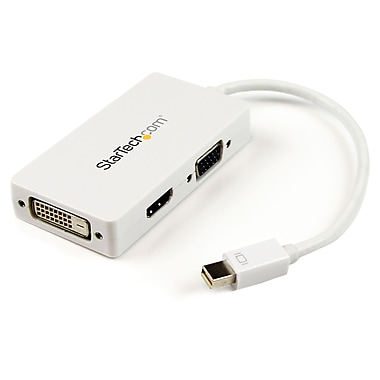 Startech Travel A/V Adapter: 3-In-1 Mini Displayport to VGA DVI Or HDMI Converter, White