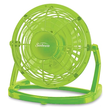 Sunbeam – Ventilateur en plastique USB Cool Me de 4 po, vert ara