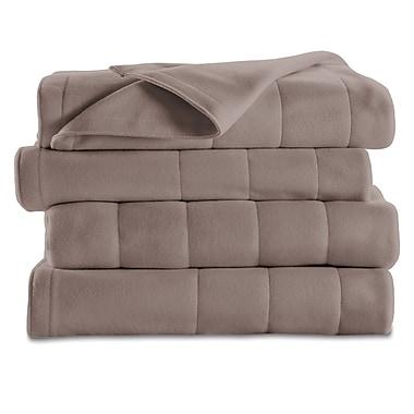 Sunbeam – Couverture chauffante en molleton piqué, format très grand lit, champignon