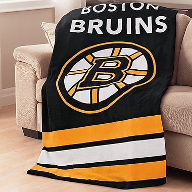 Sunbeam – Jeté chauffant en micropeluche de la LNH, Bruins de Boston