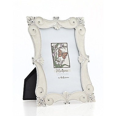 Philip Whitney Marposa Scroll Picture Frame; Silver/Ivory