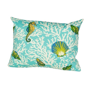 Rennie & Rose Design Group Kittery Indoor/Outdoor Lumbar Pillow; Aqua