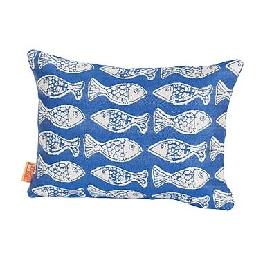 Rennie & Rose Design Group Coastal Fish Tales Indoor/Outdoor Lumbar Pillow; Light Blue