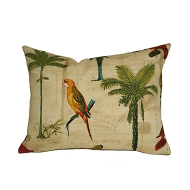 Rennie & Rose Design Group Coastal Hearts of Palm Outdoor Lumbar Pillow; Toffee