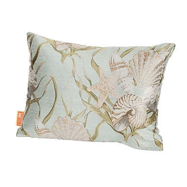 Rennie & Rose Design Group Coastal Sea Shells Indoor/Outdoor Boudoir/Breakfast Pillow; Mist Green