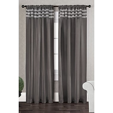 Amalgamated Textiles Bling Striped Semi-Sheer Curtain Panels (Set of 2); Black Pearl