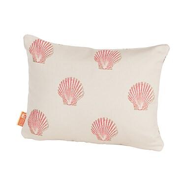 Rennie & Rose Design Group Coastal Scallop Indoor/Outdoor Boudoir/Breakfast Pillow; Pink