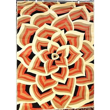 Persian-rugs Modern Floral Orange/Cream Area Rug; Rectangle 3'9'' x 4'9''