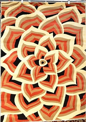 Persian-rugs Modern Floral Orange/Cream Area Rug; Rectangle 3'9'' x 4'9''