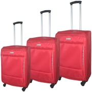 McBrine Eco-Friendly Super Light Weight Expandable 3-Piece Soft Sided Luggage Set on Swivel Wheels Red with Grey Trim