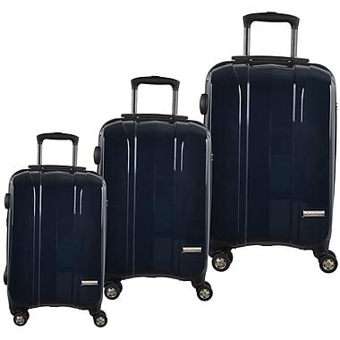 McBrine-Ens. de valises à coque dure, extérieur polycarbonate à 100%, 3 pcs, roues pivotantes double, verrou TSA, bleu marine