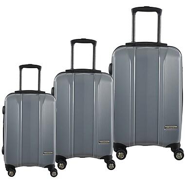 McBrine - Ensemble de valises à coque dure, extérieur en polycarbonate à 100%, 3 pcs, roues pivotantes double, verrou TSA, argen