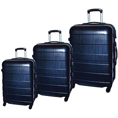 McBrine - Ensemble de valises légeres écologiques à coque dure ABS avec film PC, 3 pcs, roulettes pivotantes, noir deux tons