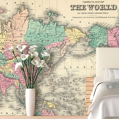 Swag Paper Colorful World Map Wall Mural; 90.6'' H x 138'' W