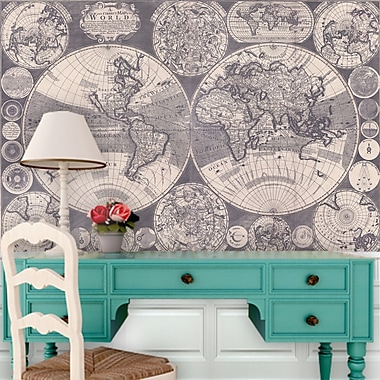 Swag Paper World Map Wall Mural; 73.8'' H x 108'' W