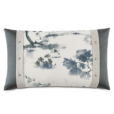 Hen Feathers Modern Asian Serene Lumbar Pillow