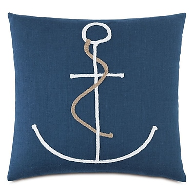 Hen Feathers Nautical Braided Anchor Throw Pillow