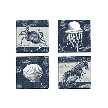 Portfolio Canvas Sea Life Crab by Elena Vladykina 4 Piece Graphic Art on Wrapped Canvas Set