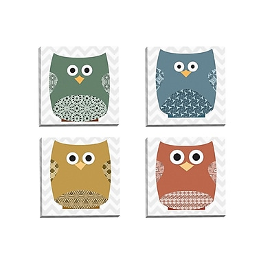 Portfolio Canvas Chevron Owls Deep 1 by IHD Studio 4 Piece Graphic Art on Wrapped Canvas Set