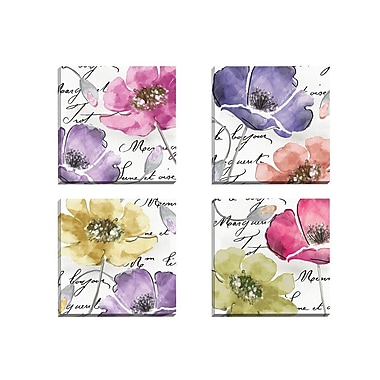 Portfolio Canvas Watercolors 1 by Mindy Sommers 4 Piece Graphic Art on Wrapped Canvas Set
